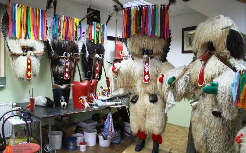 A workshop where Marko Klinc Jr. is making kurentije – the costume of the kurent.