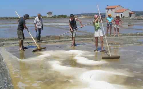 Traditional production of sea salt.