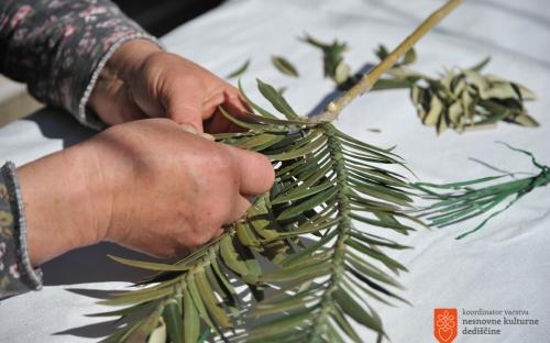 Making Palm Sunday branches.